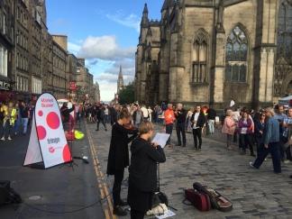 Street performance on the FRINGE days in Edinburgh
